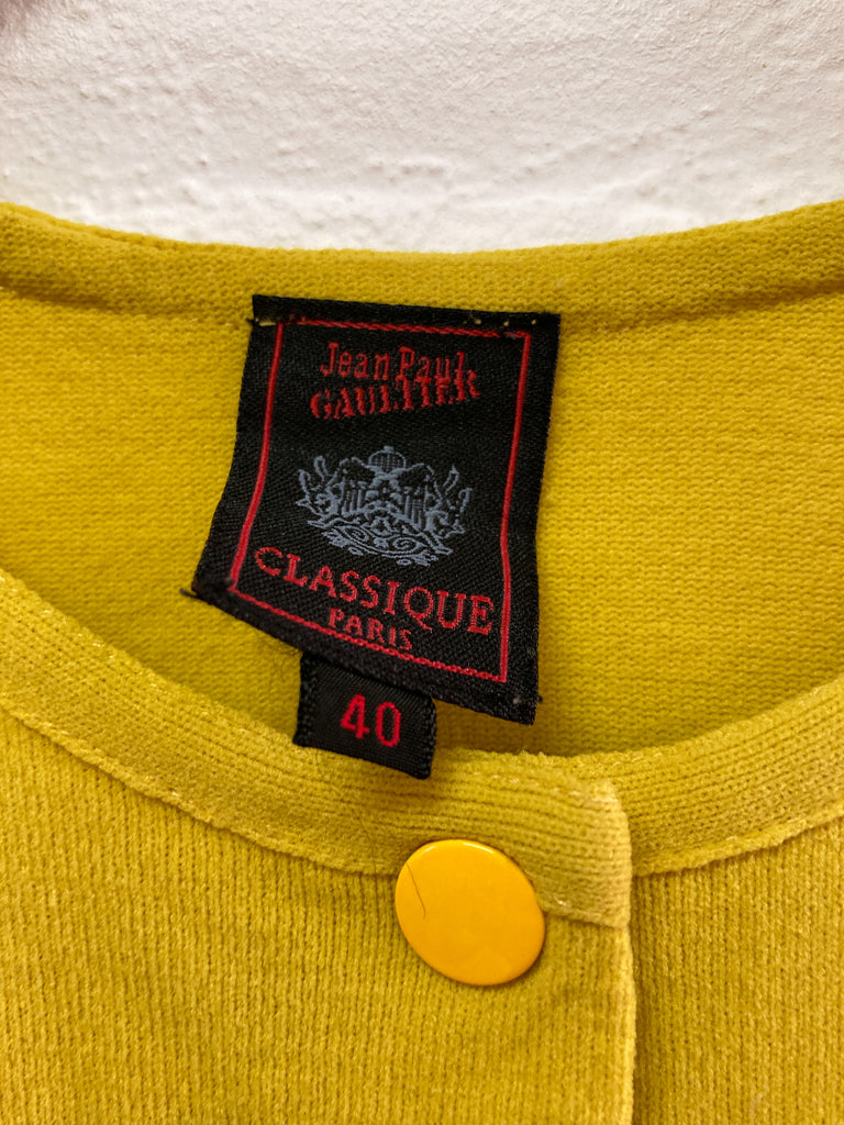 Jean Paul Gaultier mustard snap button cardigan with embroidered hem - size 40