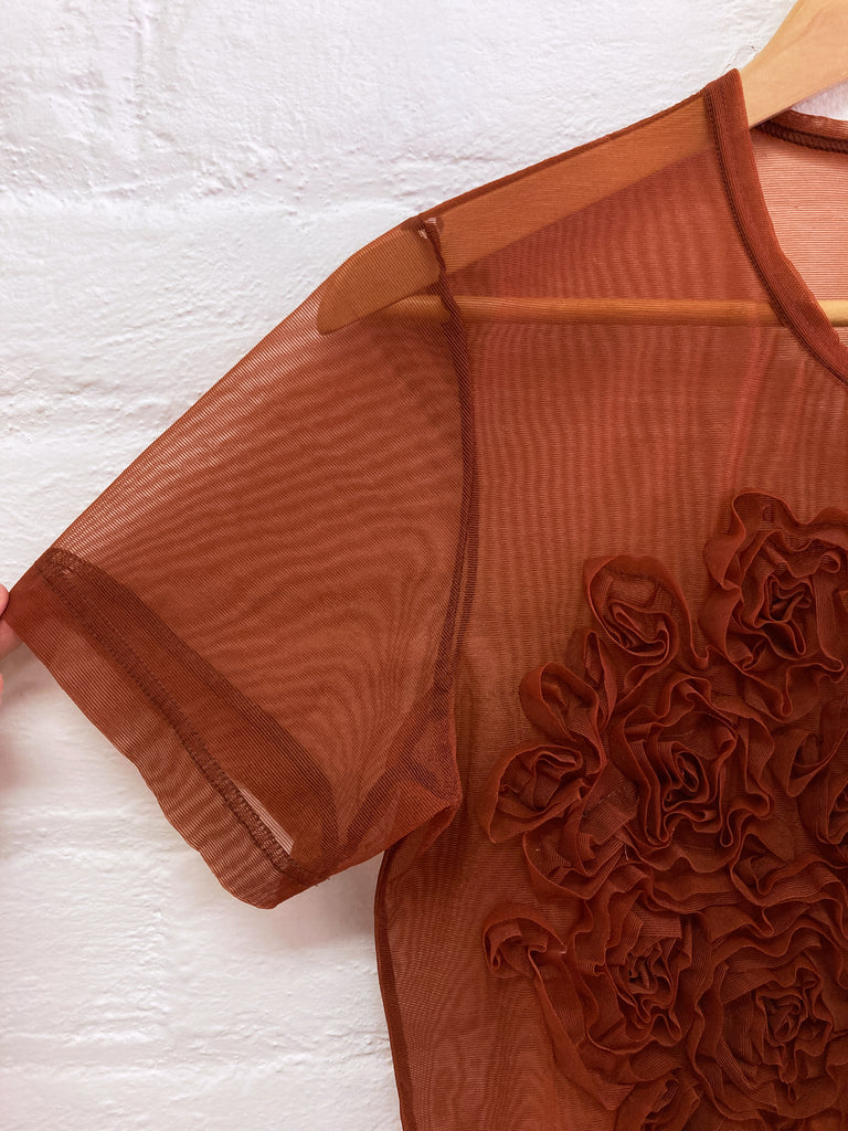 Comme des Garcons 1997 sheer brown mesh floral ruffle short sleeve cardigan - S