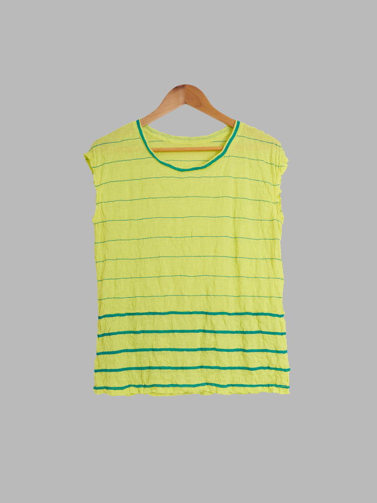 Issey Miyake ME wrinkled green sleeveless top with horisontal stripe - approx M