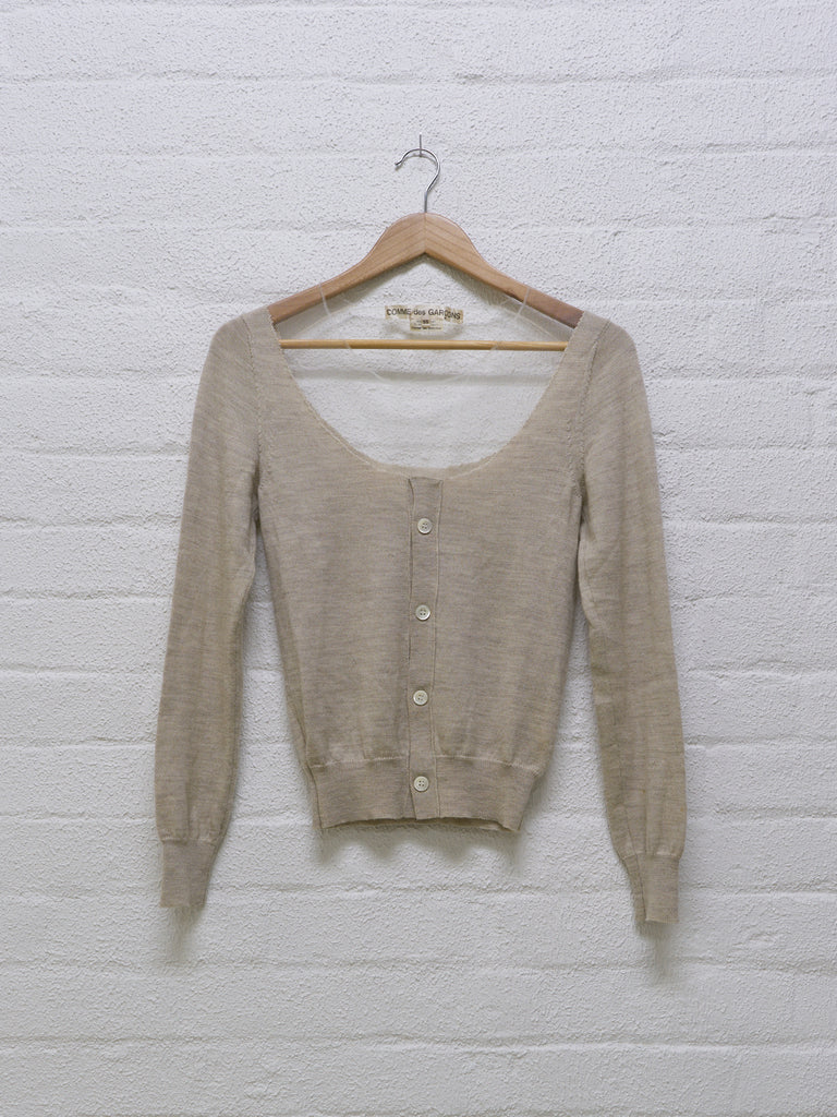 Comme des Garcons 2006 oatmeal wool and mesh cardigan - size S