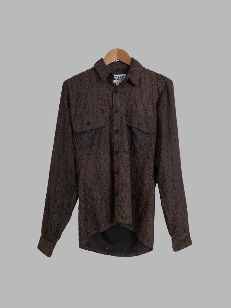 Yoshiki Hishinuma Homme brown polyester scaly long sleeve shirt - size 1 S
