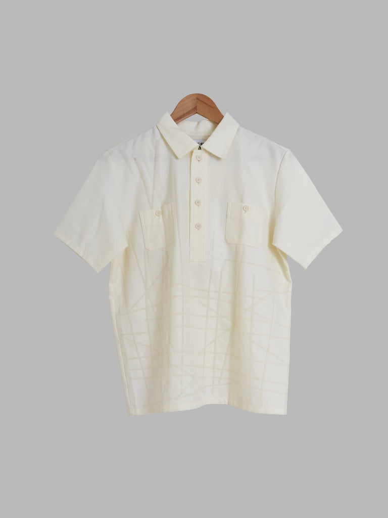 "Yoshiki Hishinuma Homme white nylon ""Techno Cut"" short sleeve pullover shirt - S"