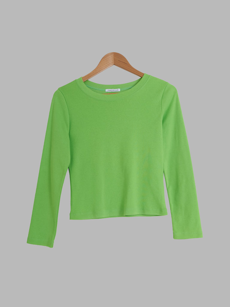 Yoshiki Hishinuma green cotton jersey knit long sleeve top
