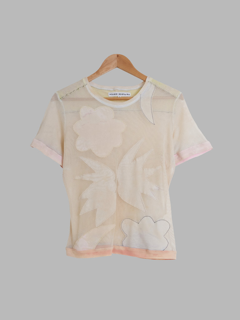 Yoshiki Hishinuma mottled cloud and moon motif sheer mesh t-shirt - womens M S