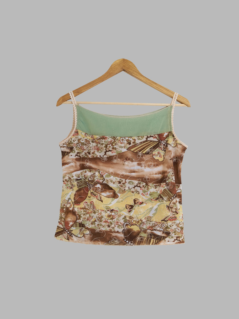 Vintage semi sheer brown green floral multi fabric camisole top