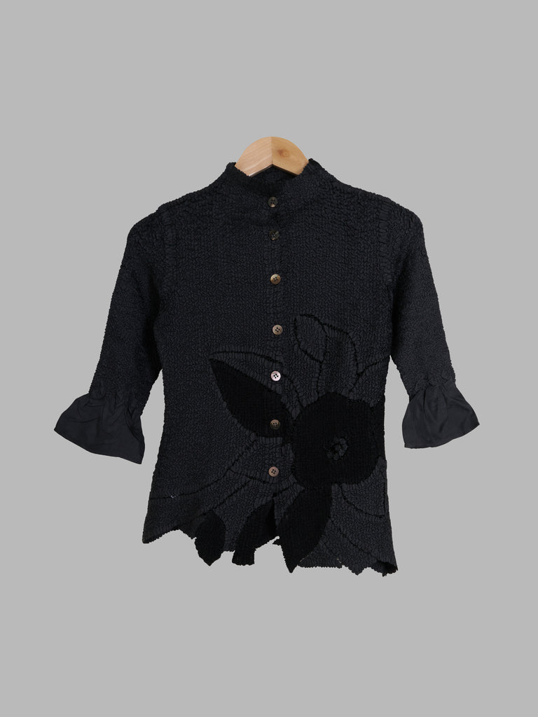 Yoshiki Hishinuma Peplum wrinkled half sleeve shirt with inset lace flower - 1 S