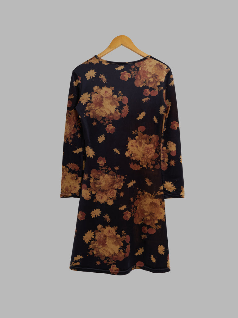 Yoshiki Hishinuma dark brown velour knit floral print long sleeve dress - sz 1 S