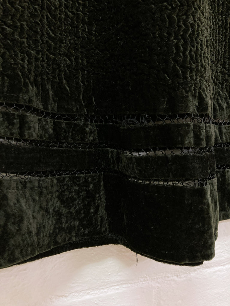 Yoshiki Hishinuma Peplum dark green velour sleeveless maxi dress - sz 2 S M