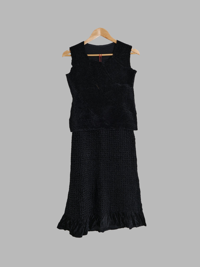 Yoshiki Hishinuma Peplum black velour sleeveless top and ruffled skirt set - S