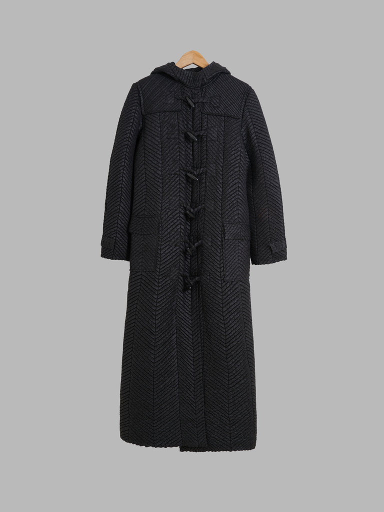 Yoshiki Hishinuma black pleated polyester full length hooded duffle coat - S M