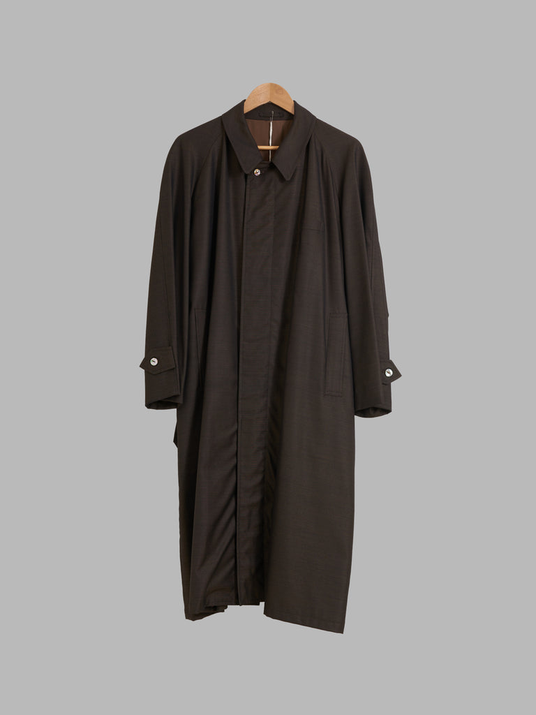 Grass men's 1980s brown wool silk covered placket mackintosh coat - M L