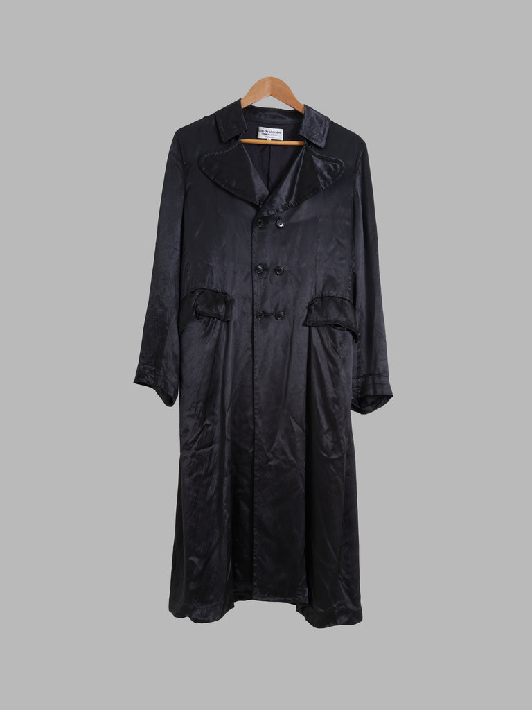 Robe de Chambre Comme des Garcons 2001 black satin double breasted coat - size M