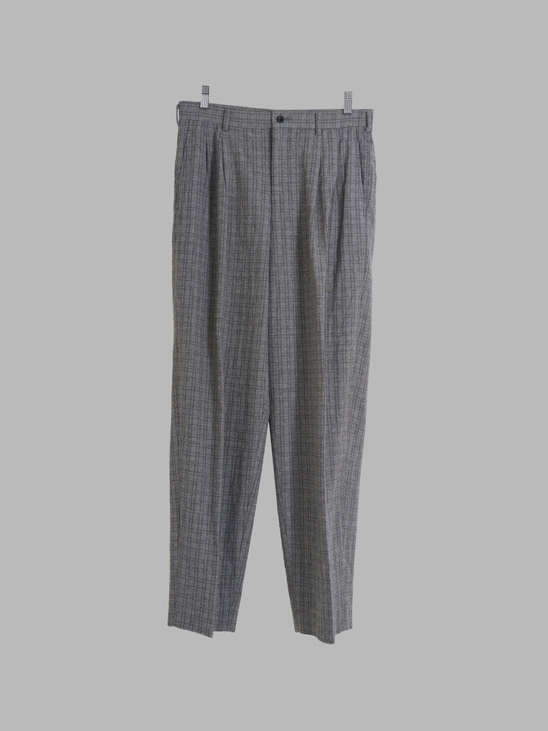 Comme des Garcons Homme 1995 grey wool check pleated trousers - M