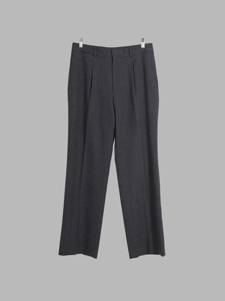 Kenzo Homme 1990s grey wool single tuck trousers - size 3 M S