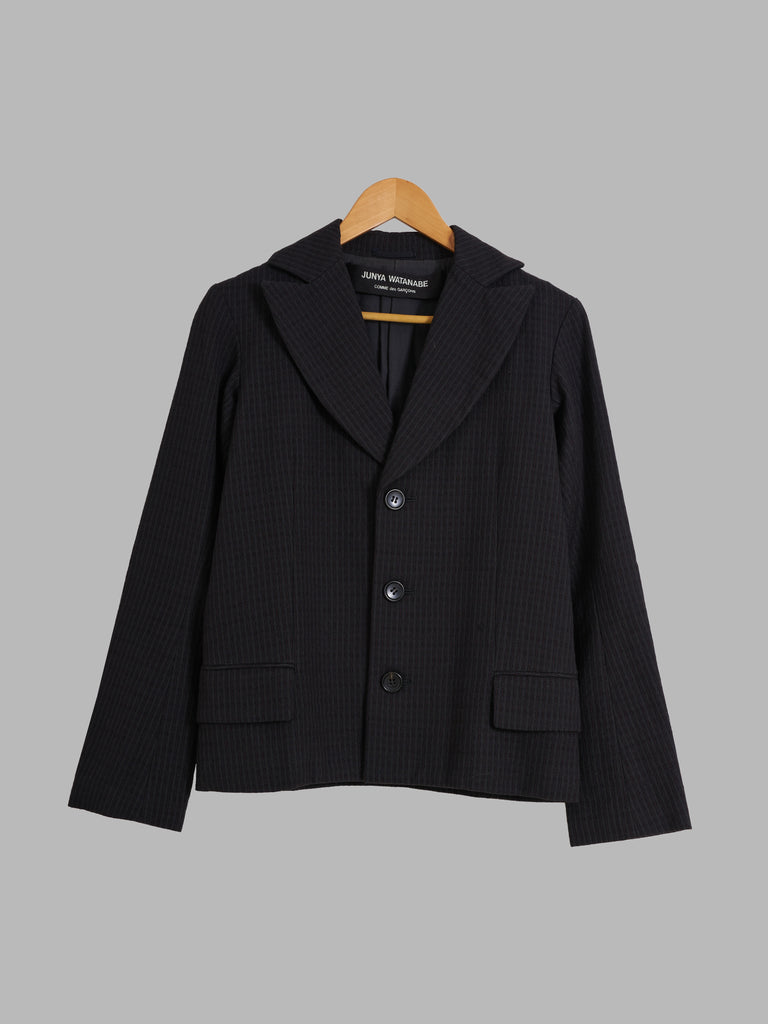 Junya Watanabe Comme des Garcons AW1996 black exaggerated lapel blazer - S M