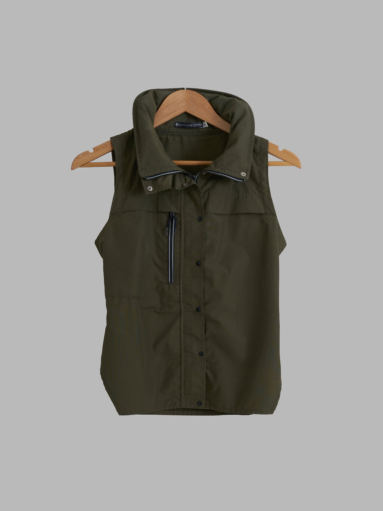 Christophe Lemaire khaki cotton nylon high neck vest with collar hood - S