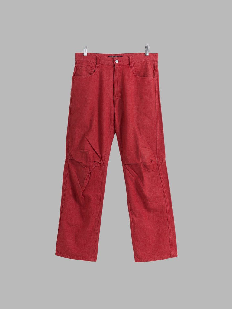 Keita Maruyama Homme red cotton denim knee tuck jeans - size M