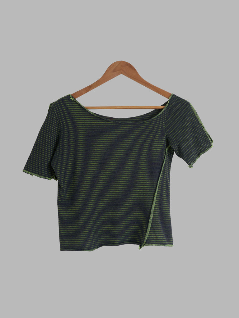 A.F. Vandevorst green cotton stripe overlock detail wide neck t-shirt  - XS S