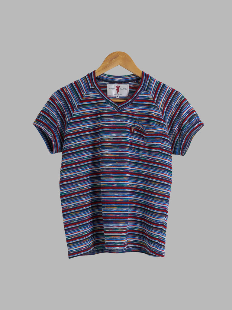 Colin Harvey 1980s red blue horizontal stripe knitted v neck t-shirt - XS S