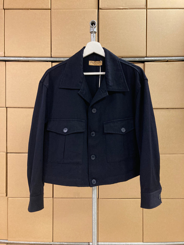 Robe de Chambre Comme des Garcons 1980s dark navy wool cropped jacket