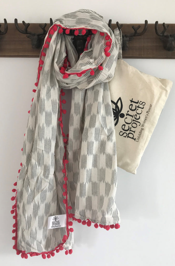 Secret Scarf, Ikkat black & white with coral pom-poms