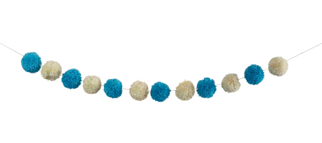 Blue and Cream Pom Pom Garland