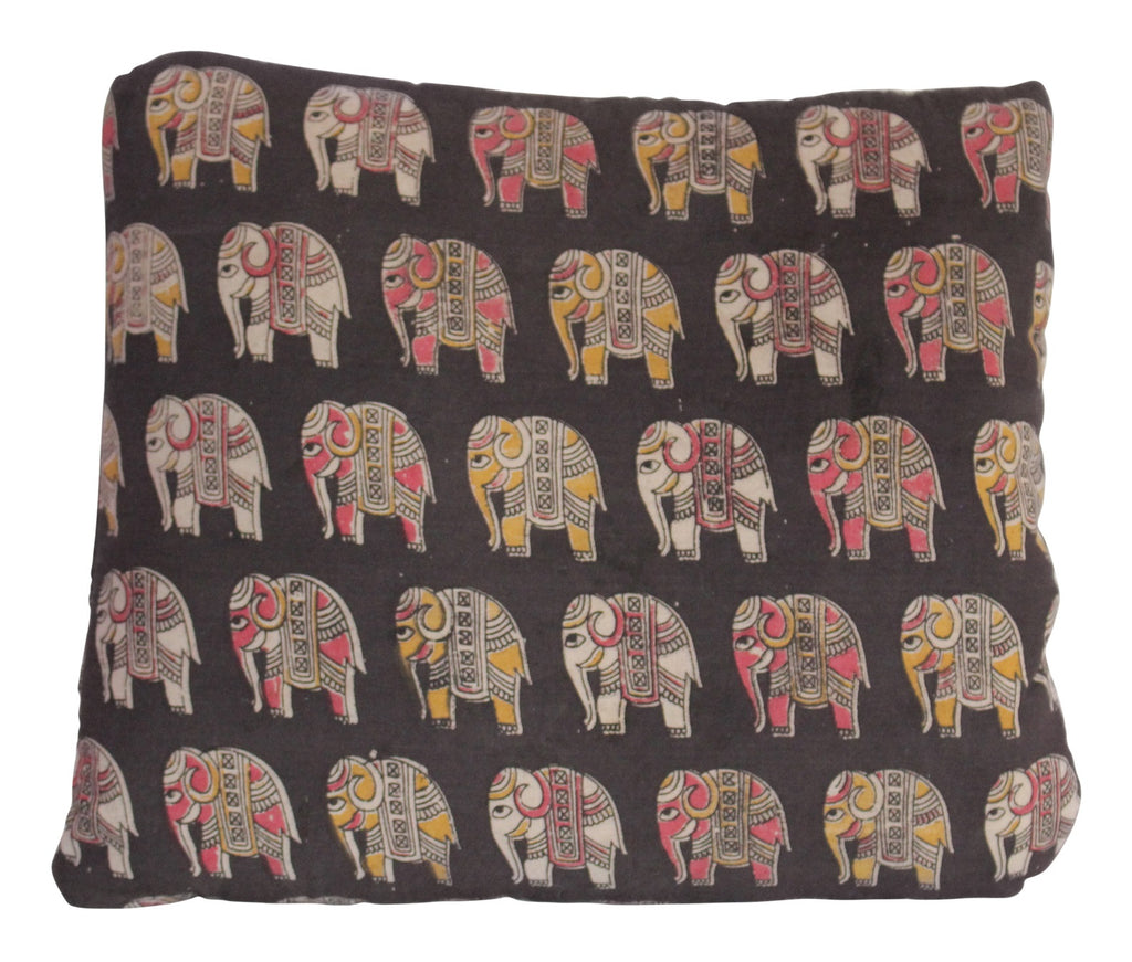 Elephant Herd Secret Pillow in black, red and yellow