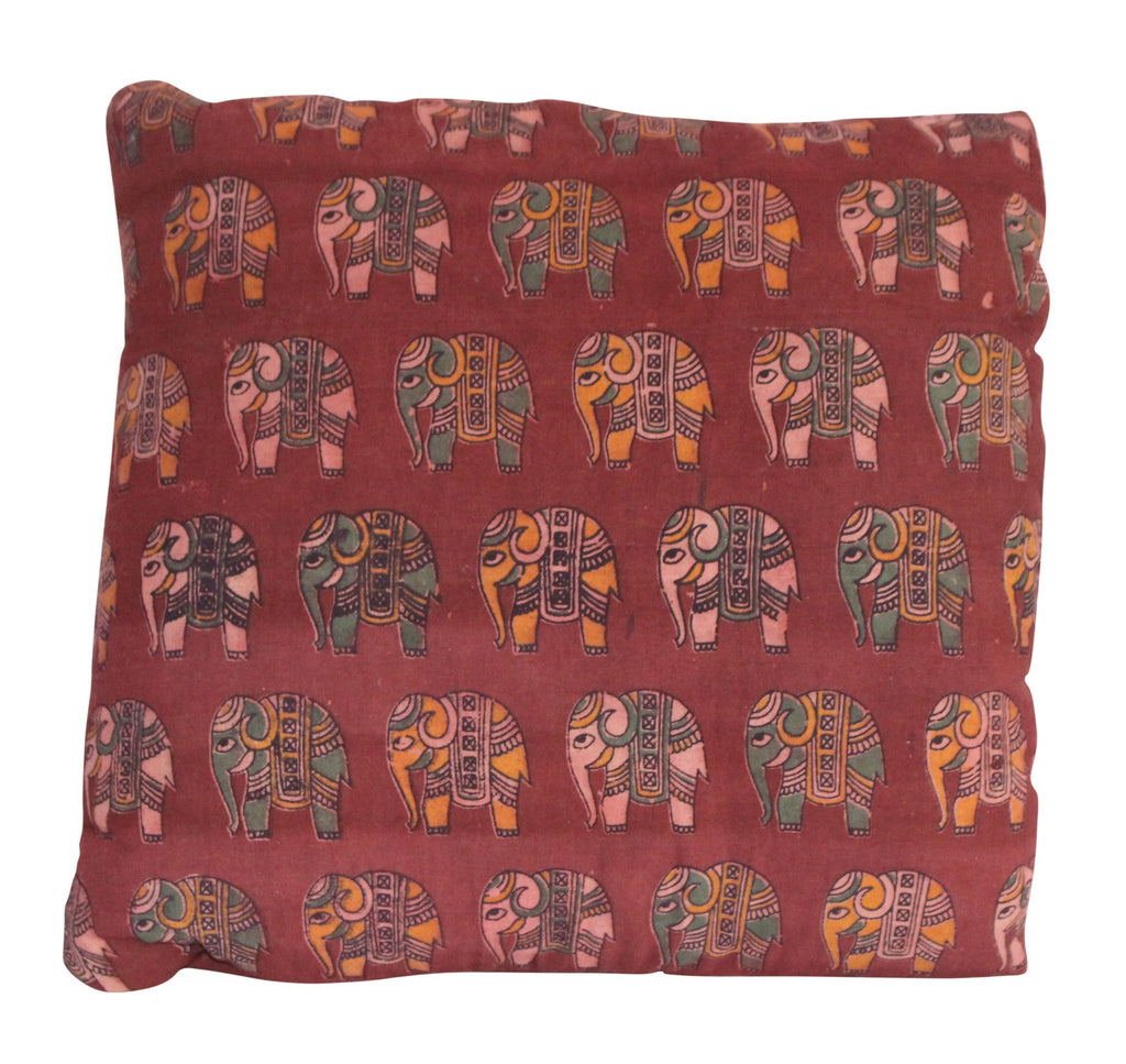 Elephant Herd Secret Pillow in red or terracotta