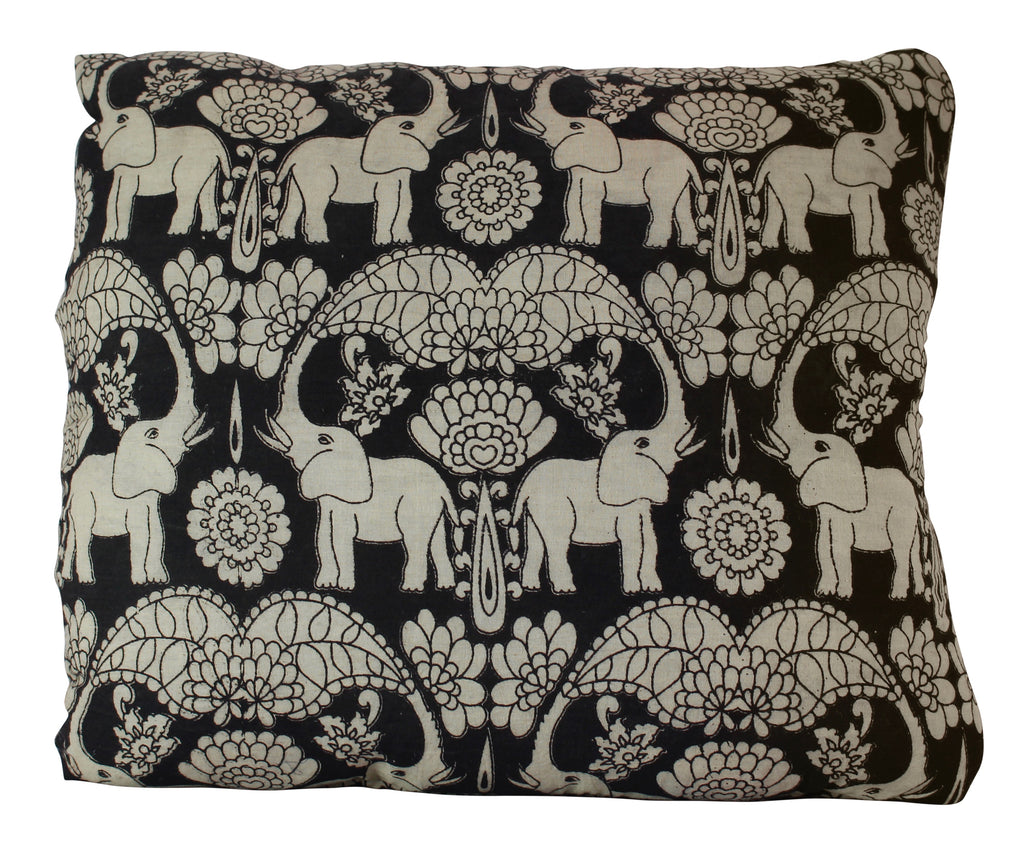 Elephants in Festival Black Secret Pillow