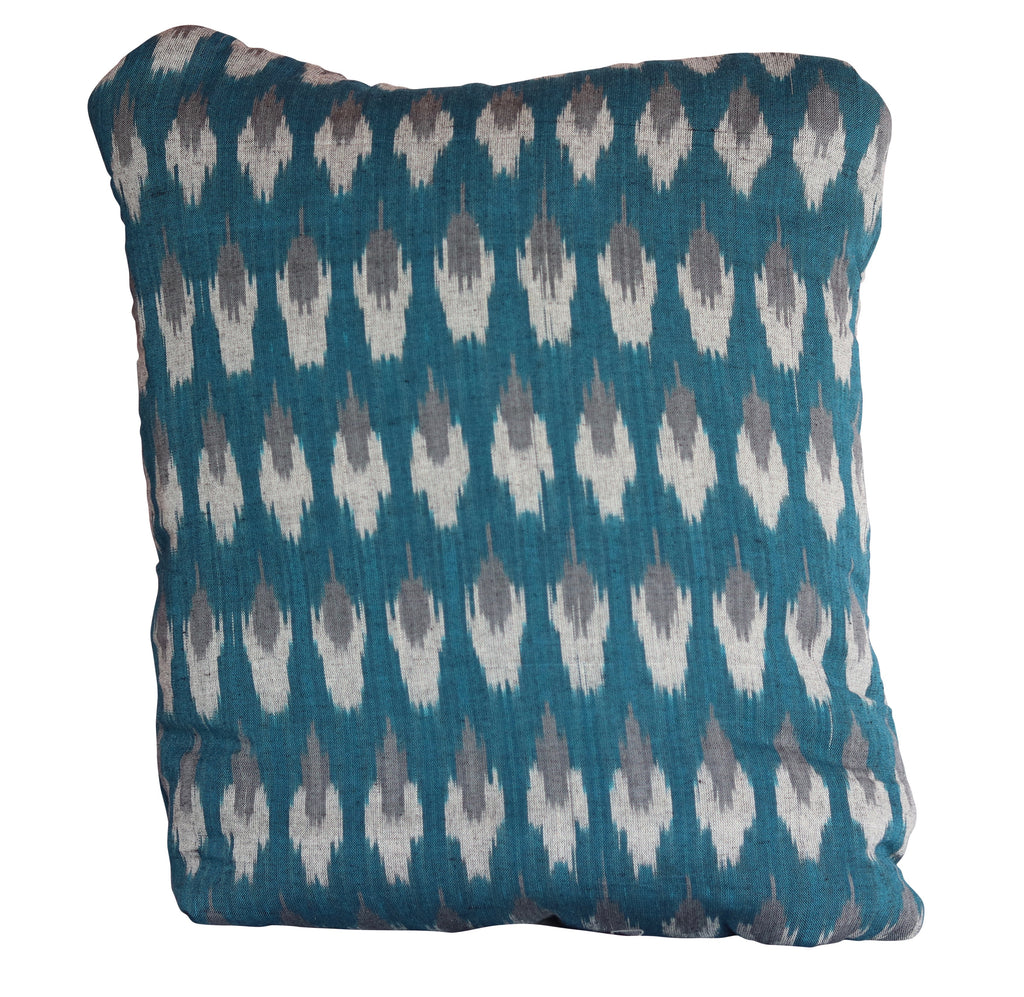 Ikkat Teal Secret Pillow