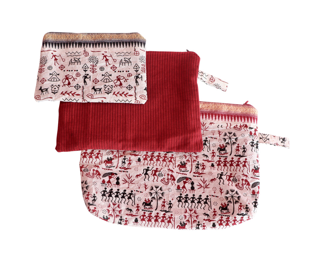 Hieroglyphs Set of Three Cosmetic Pouches