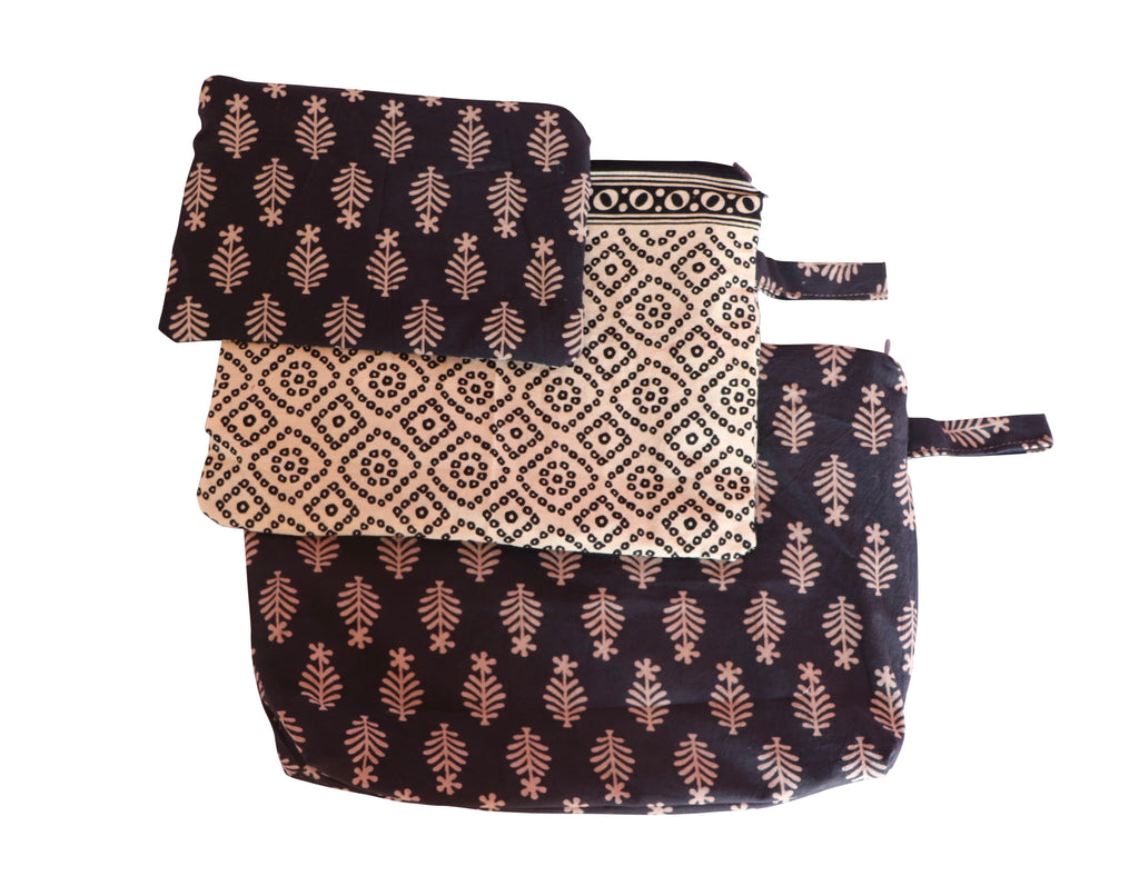 Vines Set of Three Cosmetic Pouches