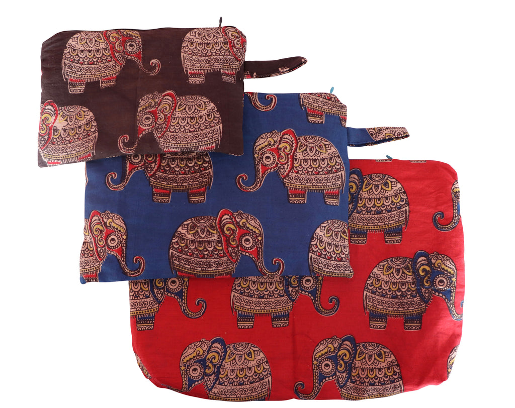 Baby Elephants Set of Three Cosmetic Pouches