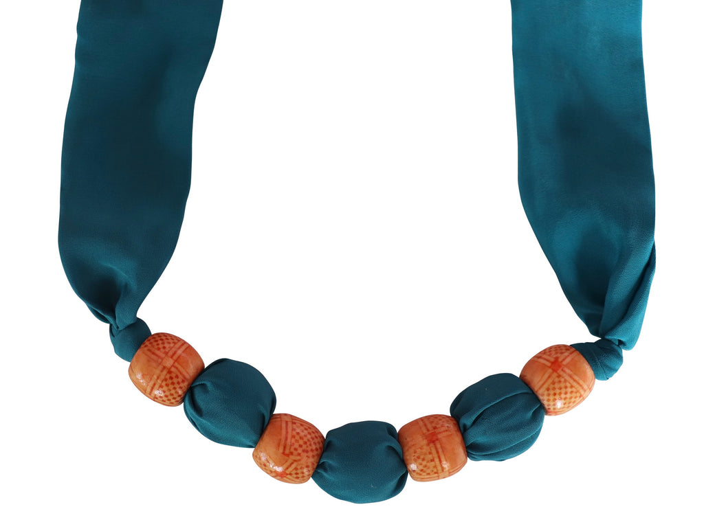 Teal Secret Sari Necklace