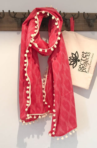 Secret Scarf, Ikkat pink with cream pom-poms