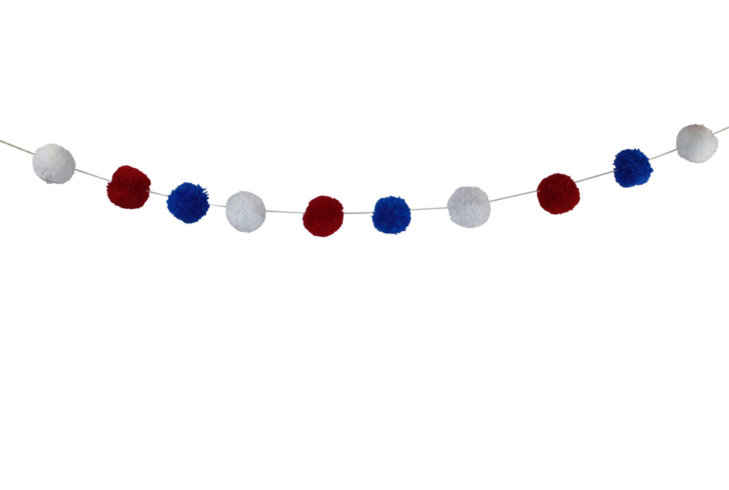 Red, White and Blue Pom Pom Garland
