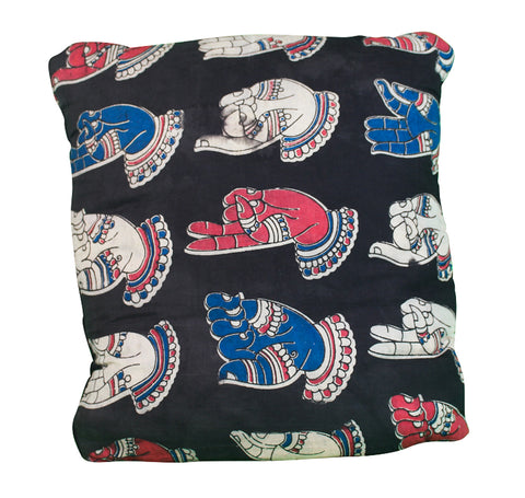Mudra Secret Pillow in black, blue and red