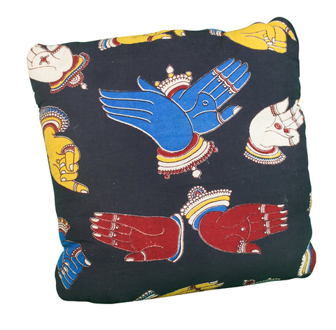 Mudra Secret Pillow in black, red, blue and yellow