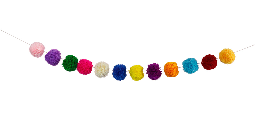 Multi-coloured Pom Pom Garland