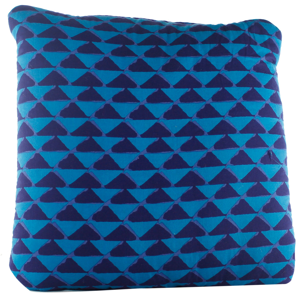 Triangle Mania Blue Secret Pillow