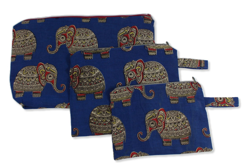 Blue baby elephant set of three cosmetic pouches Small