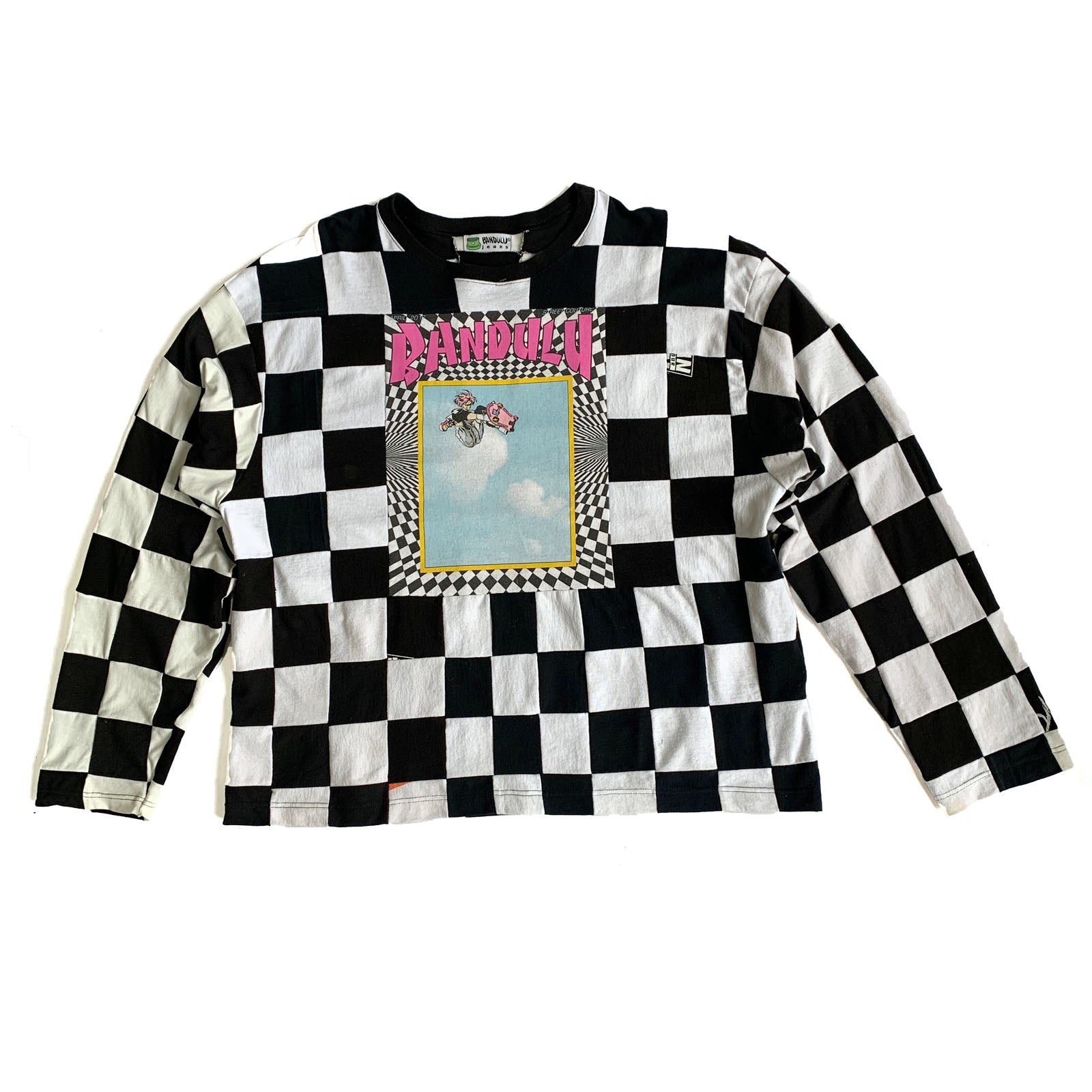 "BANDULU "" CHECKERBOARD TRUNKS "" UPCYCLED COUTURE TEE"