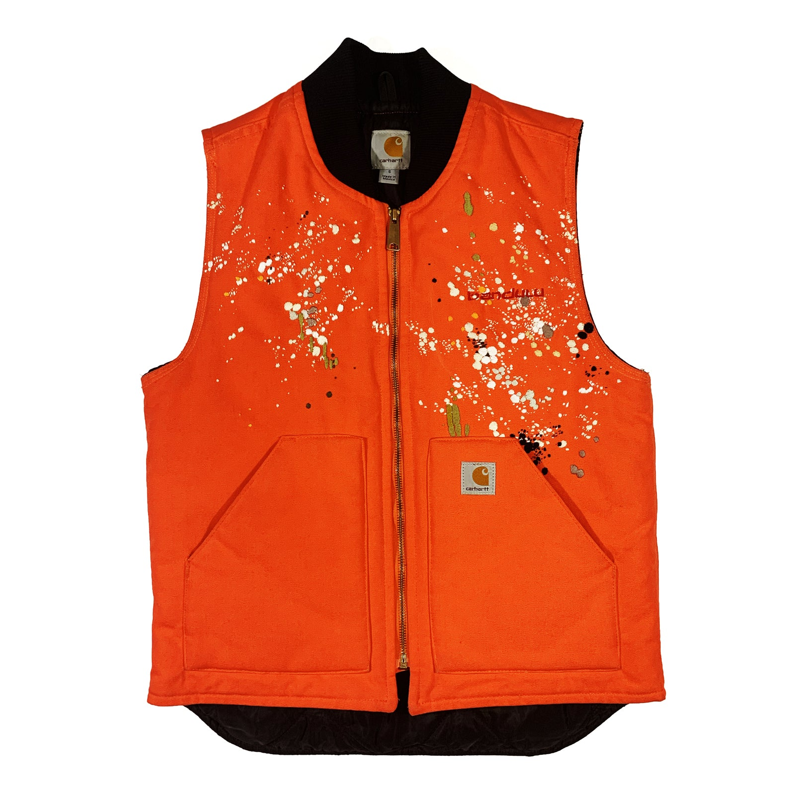 "BANDULU "" SAFETY ORANGE "" VINTAGE CARHARTT VEST S"