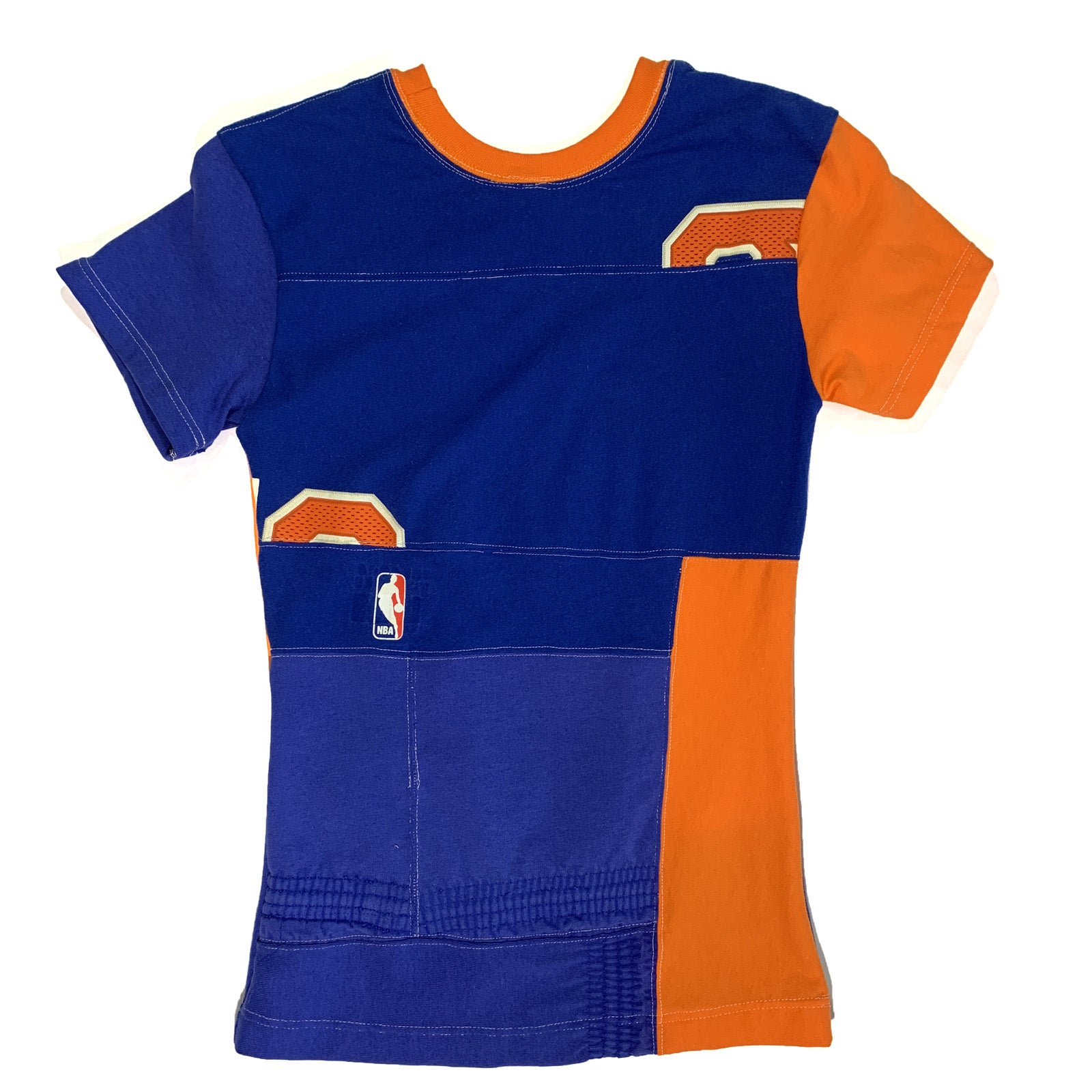 "BANDULU "" BLUE AND ORANGE "" CUT 'N SEW WOMEN'S TEE XS"