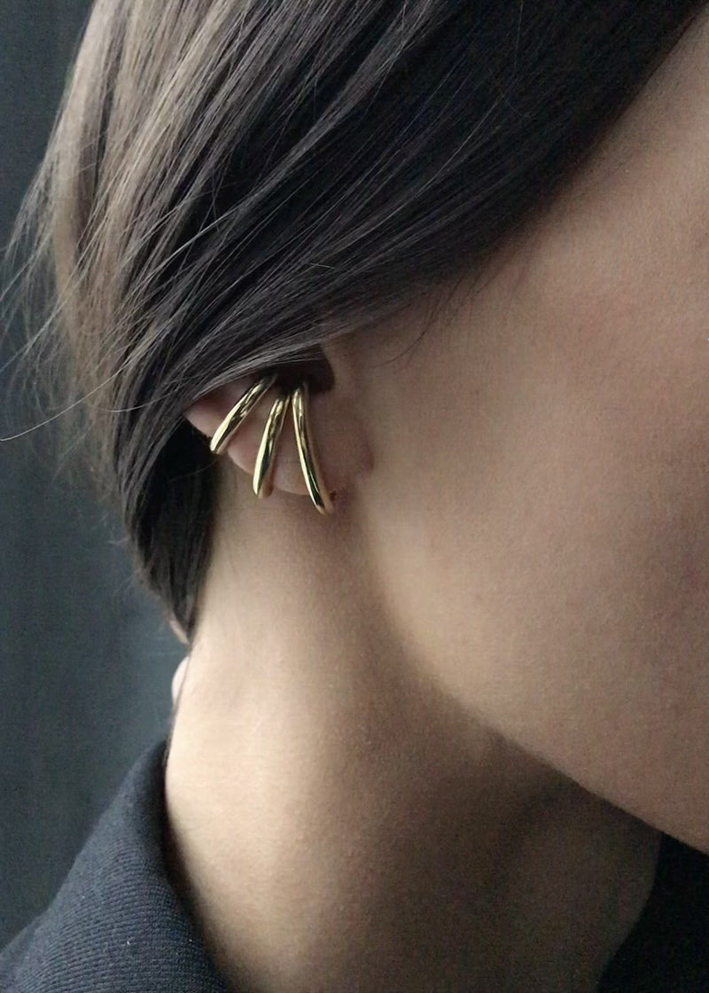 Video Ear Cuff Vintage Set Gold and Silver