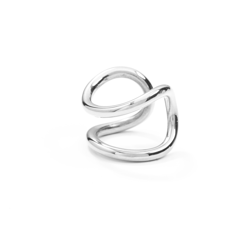 Bold Ring handmade in silver, side view.