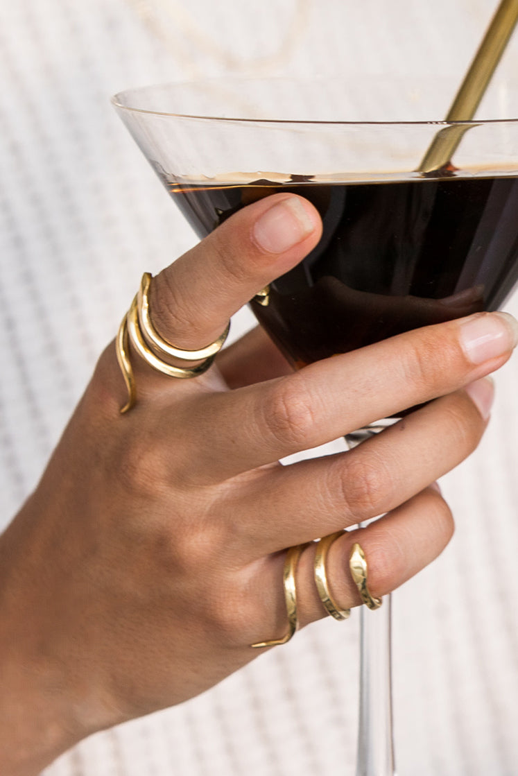 Double Snake Ring Gold - Double Slang Goud - Espresso Martini - Brass Straw