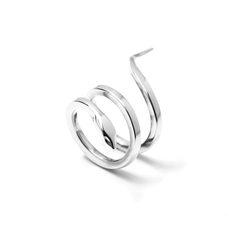 Double Snake Sterling 925 Silver - Double Snake Ring Sterling 925 Zilver - Front