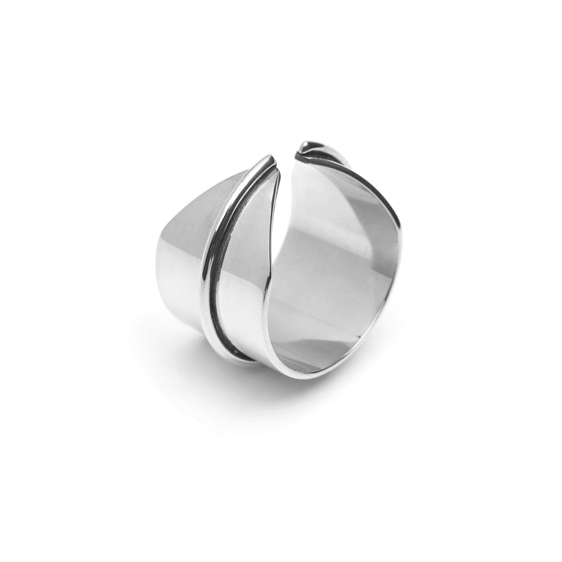 Flat Line Ring handmade in silver.