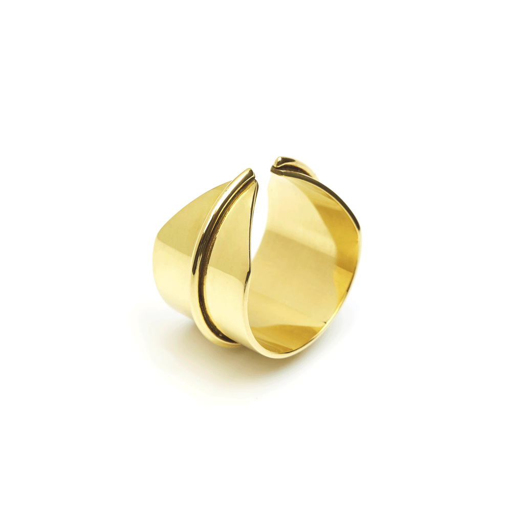 Flat Line Ring handmade in brass and silver.